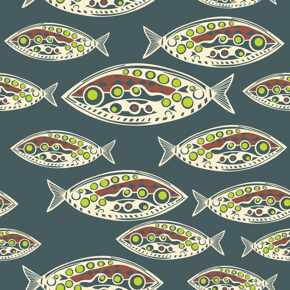 Vector Seamless Pattern Of Fish. Abstract Texture