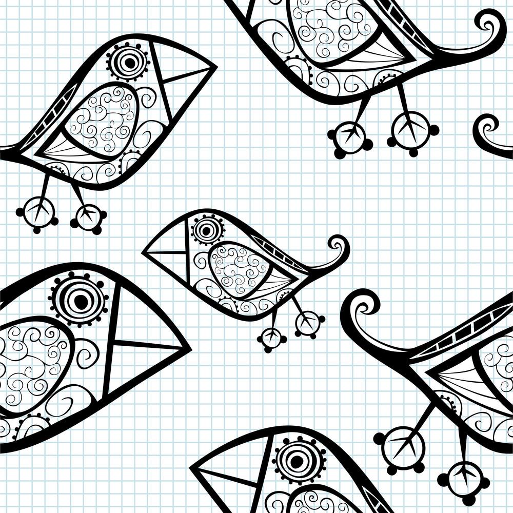 Vector Seamless Pattern With Cartoon Birds.