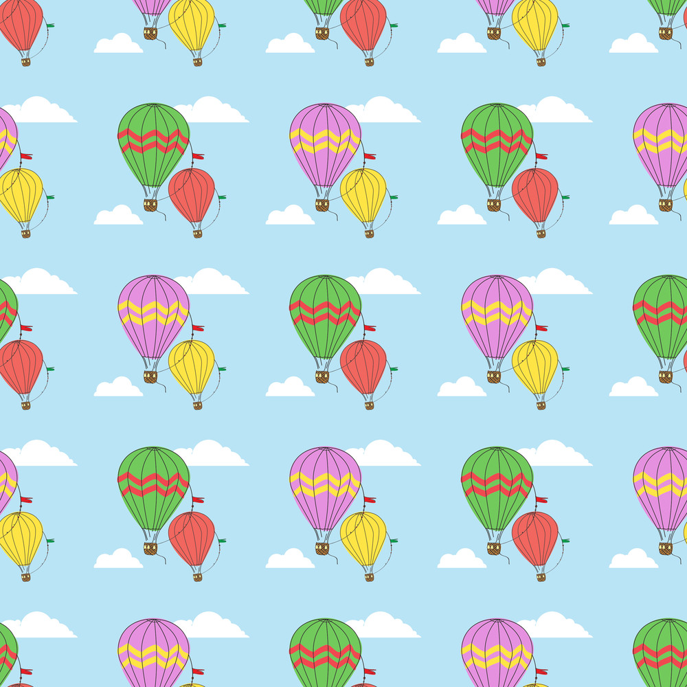 Vector Seamless Pattern With Hot Air Balloons
