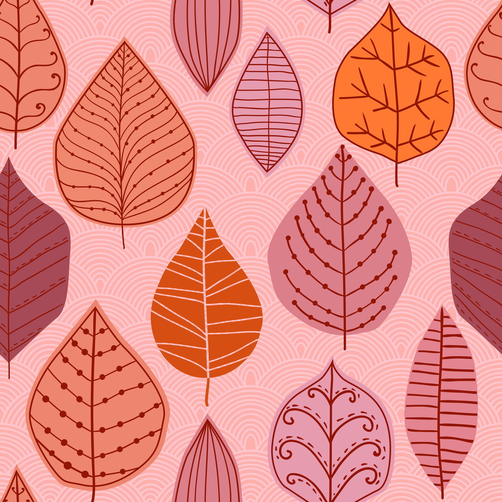 Vector Seamless Pattern With Leaf