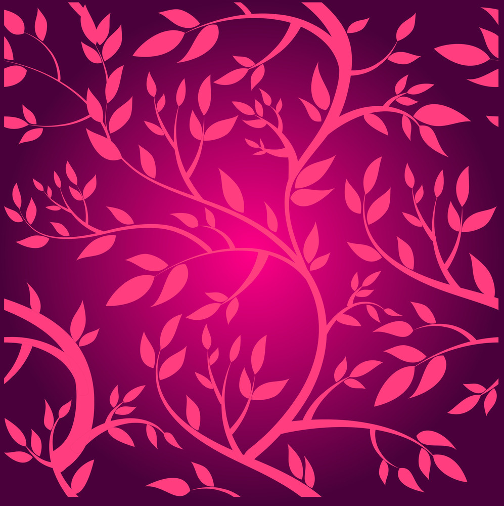 Vector Seamless Pattern With Pink Branches