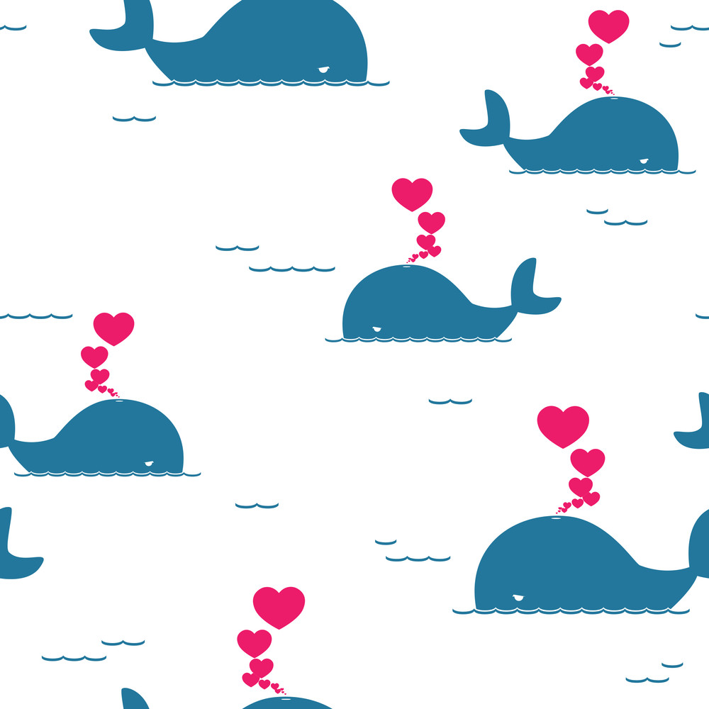 Vector Seamless Pattern With Whale And Hearts.