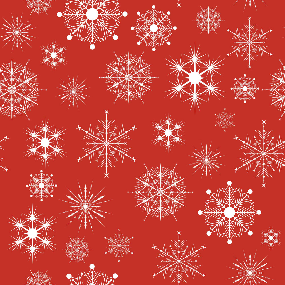 Vector Seamless Patterns With Snow Flakes On Red Background