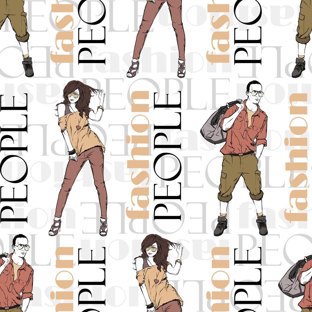 Vector Seamless Texture With Fashion Girl And Stylish Guy.