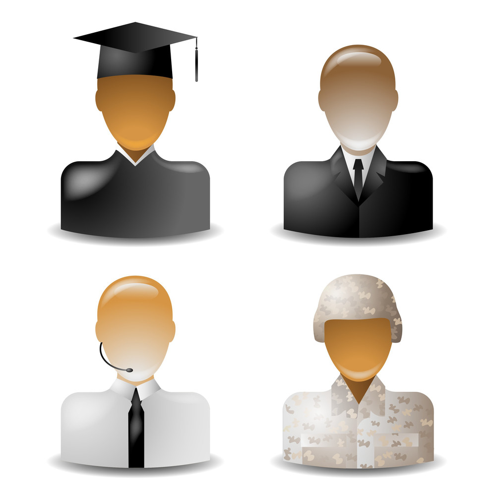 Vector Set 2 Of Glass Icons Occupations
