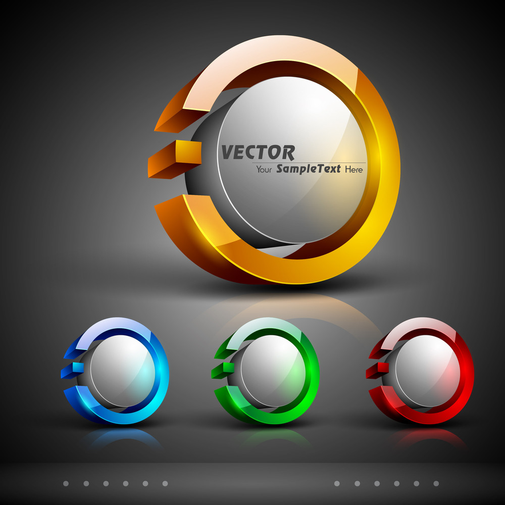 Vector Set Od 3d Abstract Logo