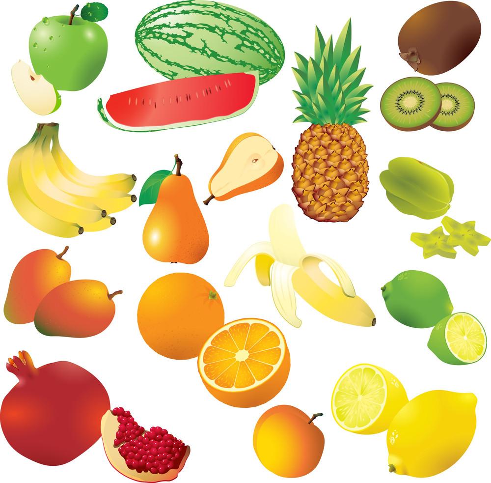 Vector Set di 14 frutta fresca.