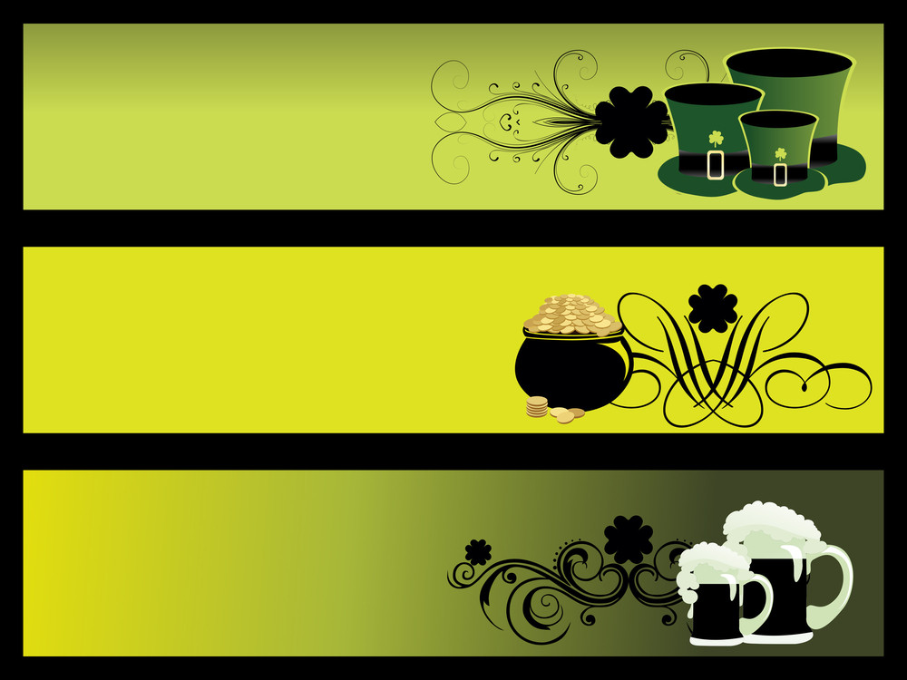 Vector Set Of 3 Patrick Day Banner