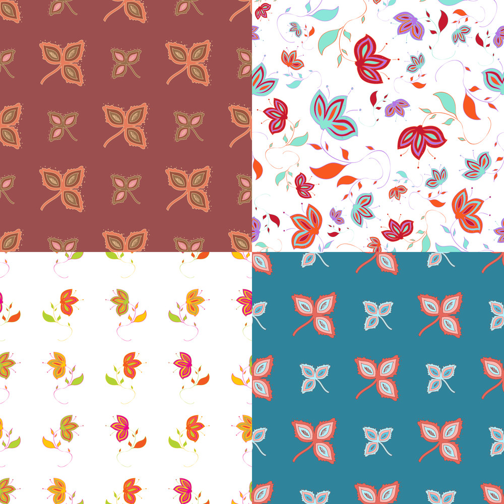 Vector Set Of  Abstract Floral Seamless Backgrounds.
