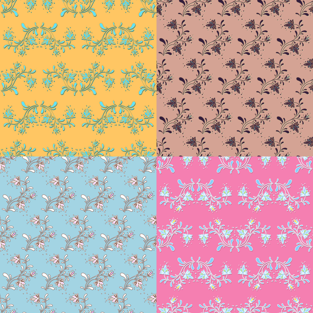 Vector Set Of Abstract Floras Seamless Textures.