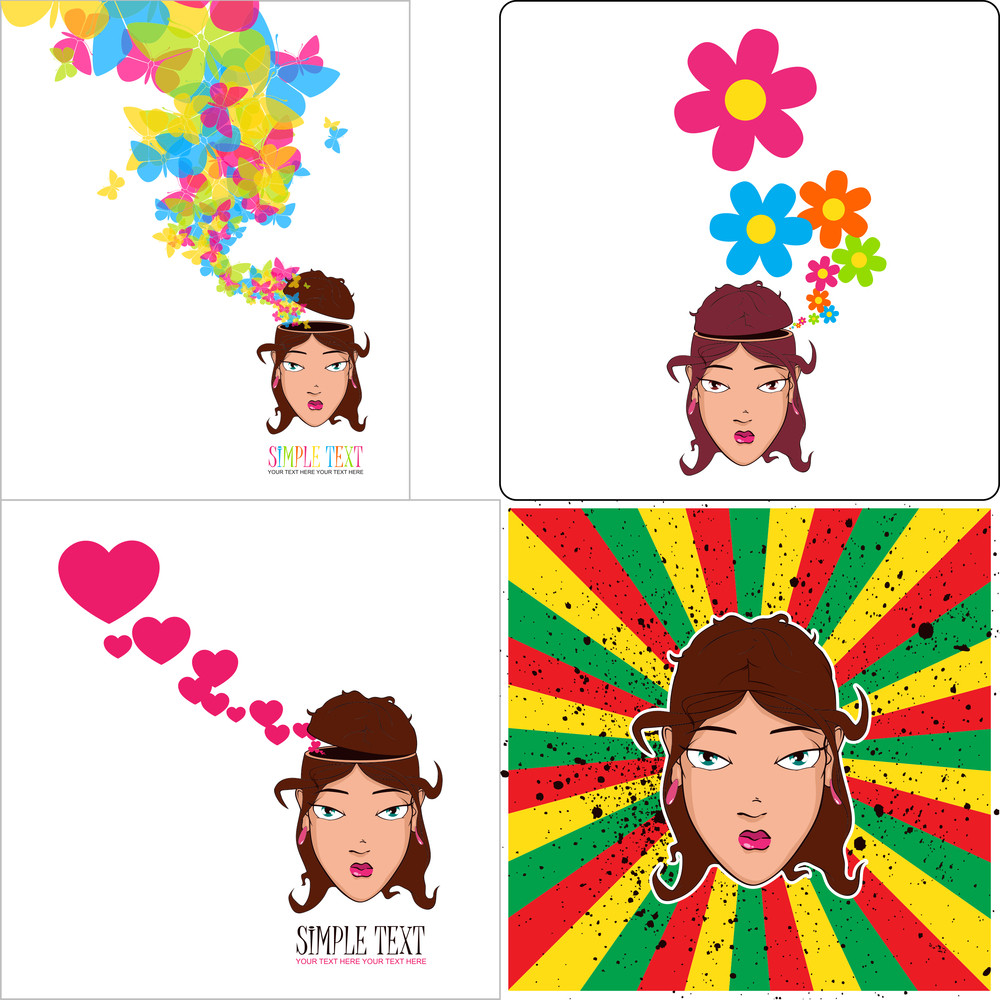 Vector Set Of  Abstract Illustrations Of Beautiful Girl Head.