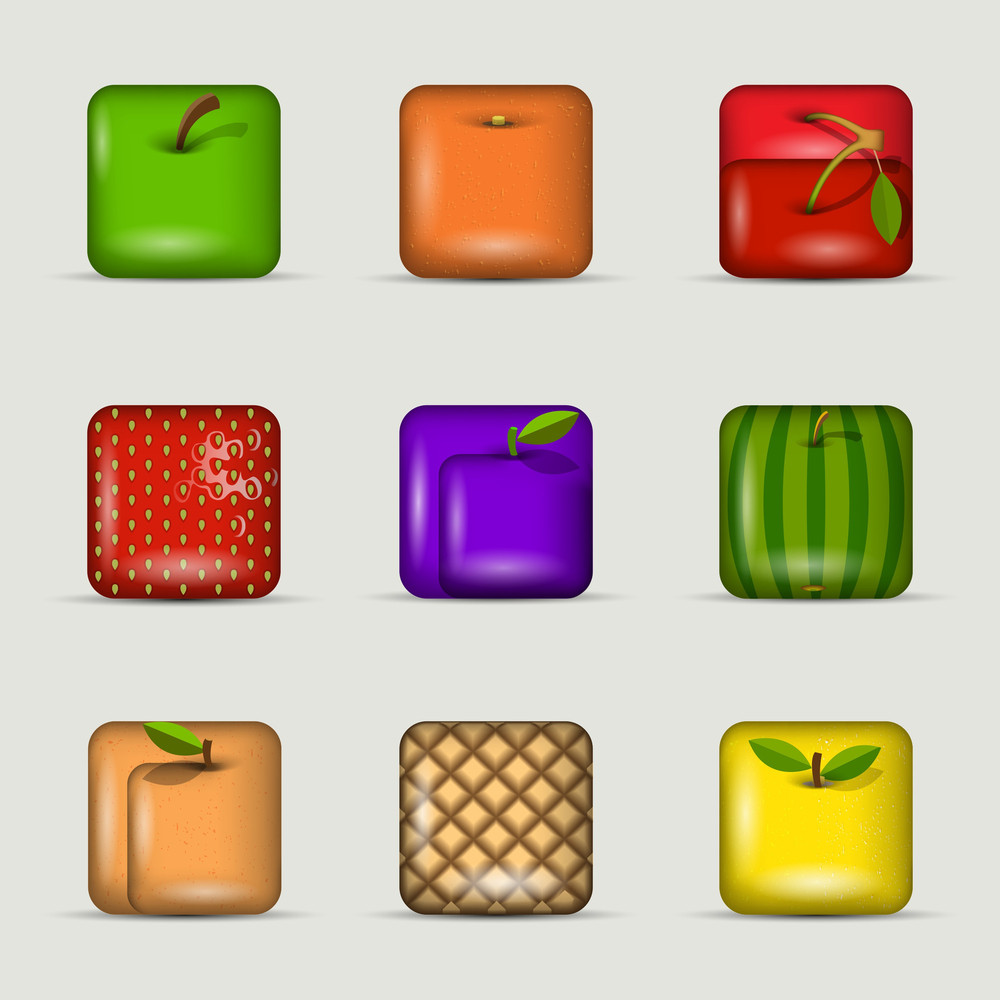 Vector Set Of App Icons-fruits