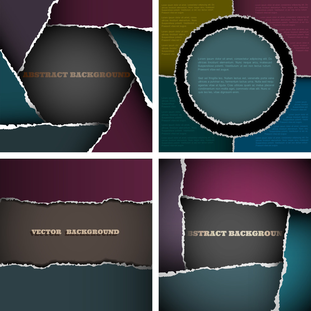 Vector Set Of Backgrounds Of Torn Paper