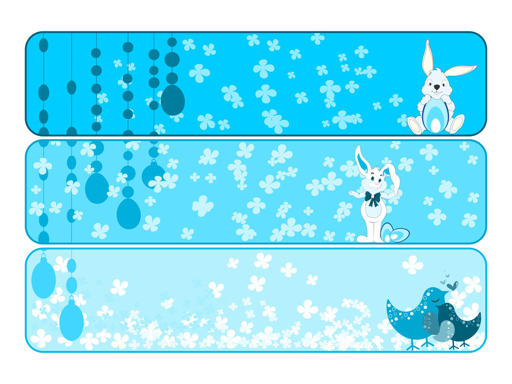 Vector Set Of Banner For Easter Day