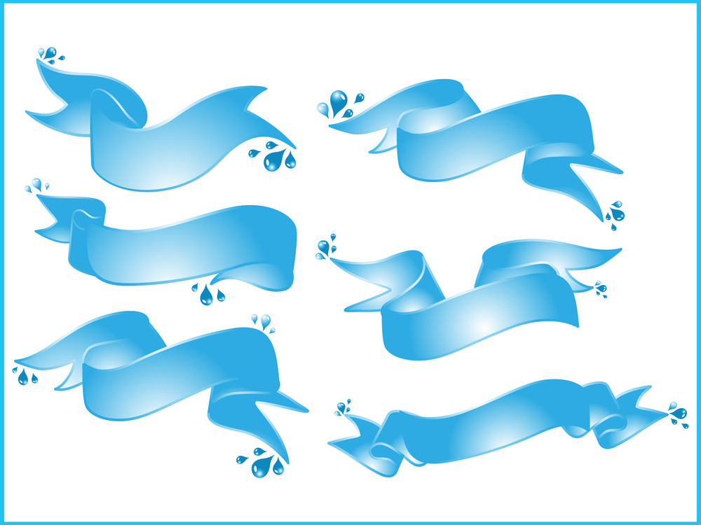 Vector Set Of Blue Ribbons