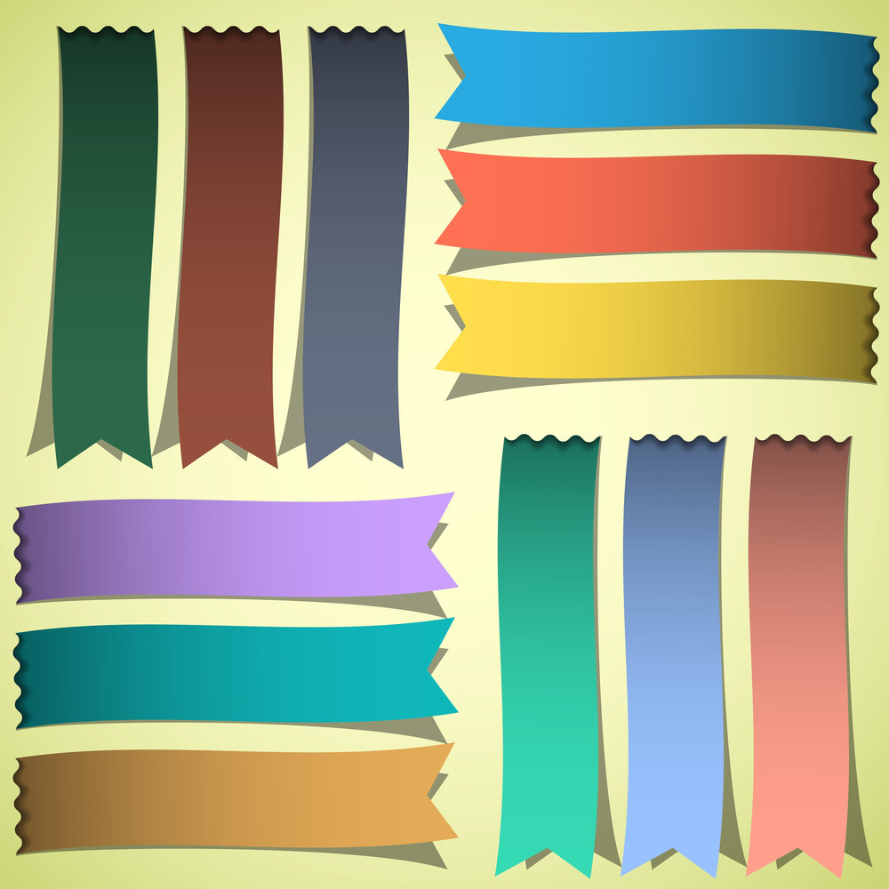Vector Set Of Bookmarks Or Ribbons
