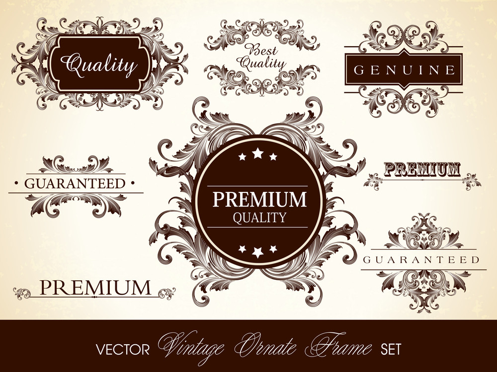 Vector Set Of Calligraphic Design Ornate Frame And Page Decoration. Eps10 Illustration.