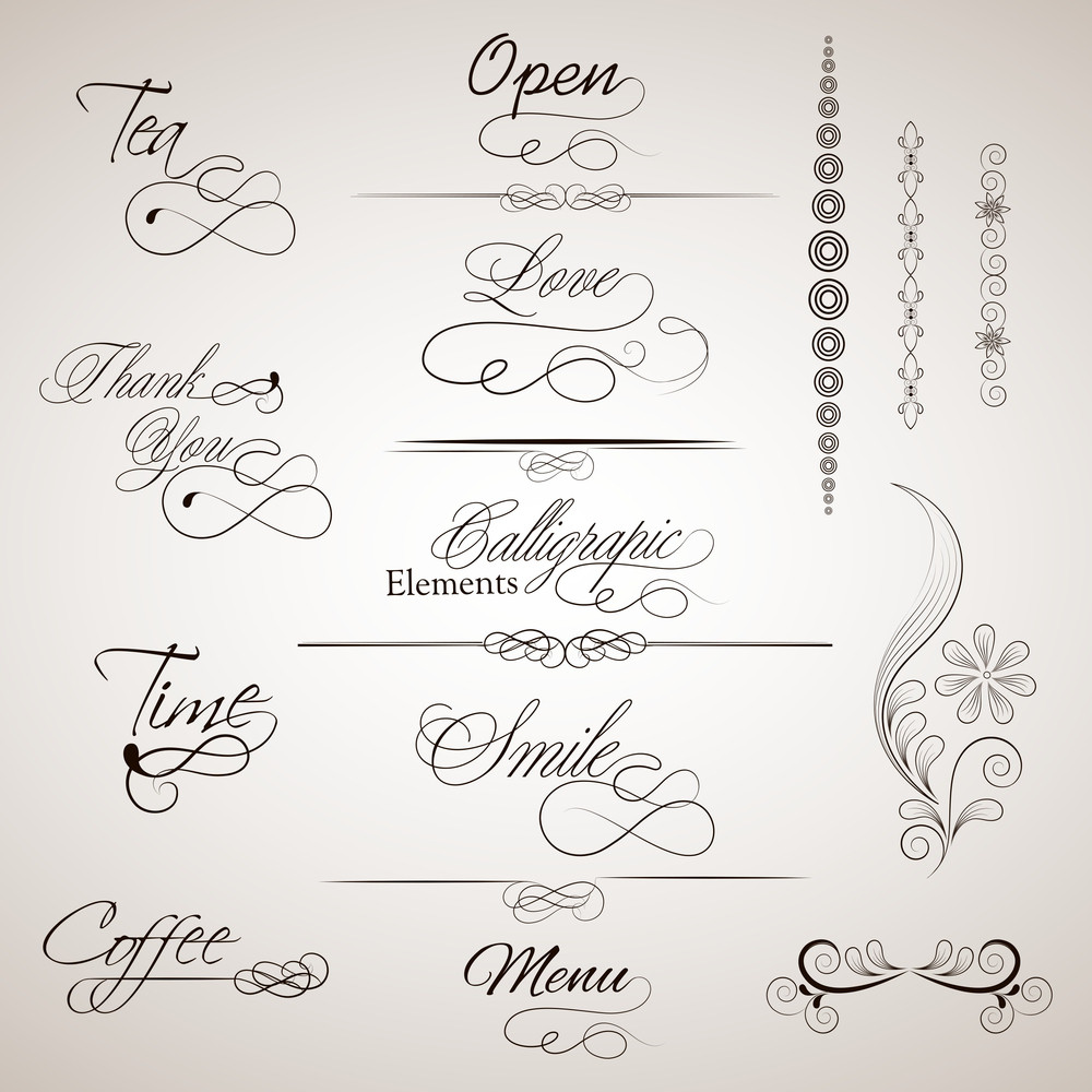 Vector Set Of Calligraphic Elements.