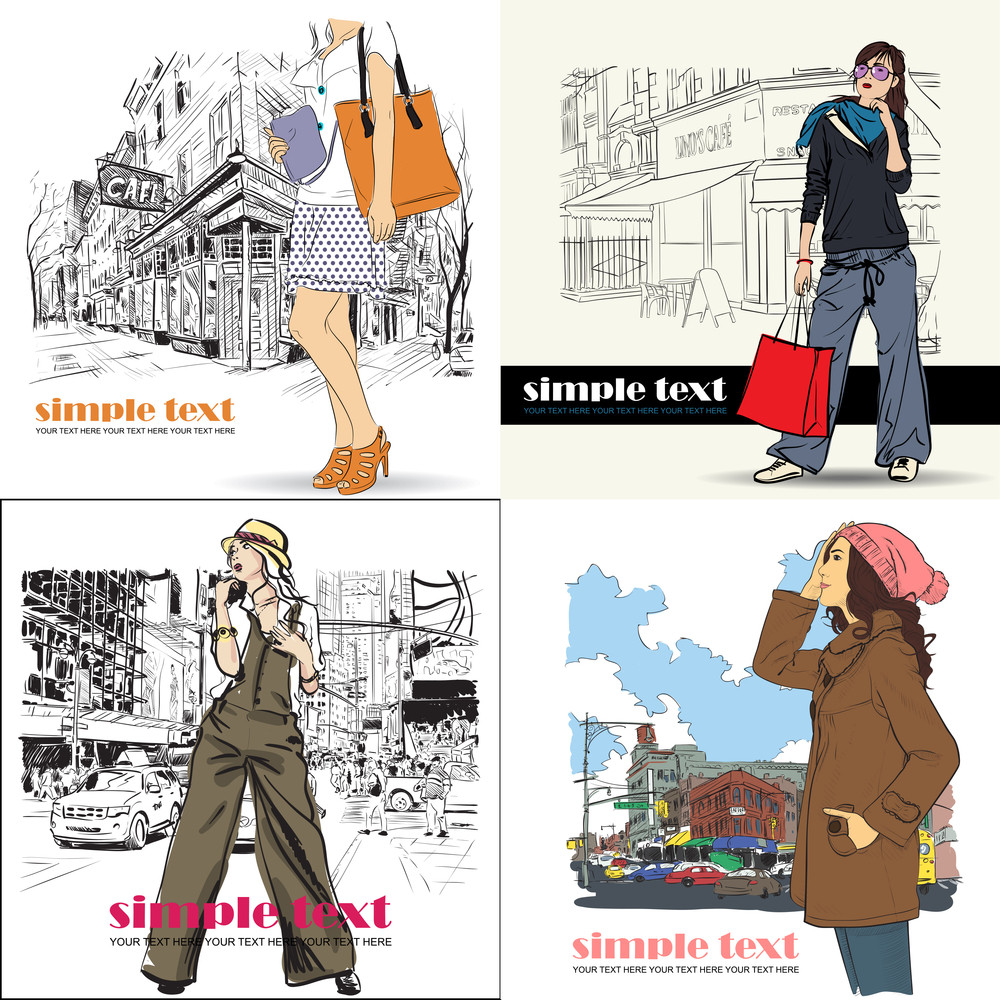 Vector Set Of Cards With Fashion Girls.