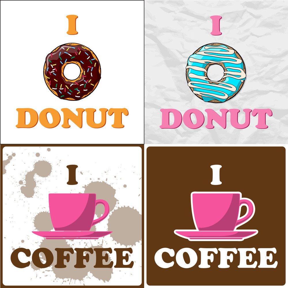 Vector Set Of Coffe-cup And Donut Illustrations.