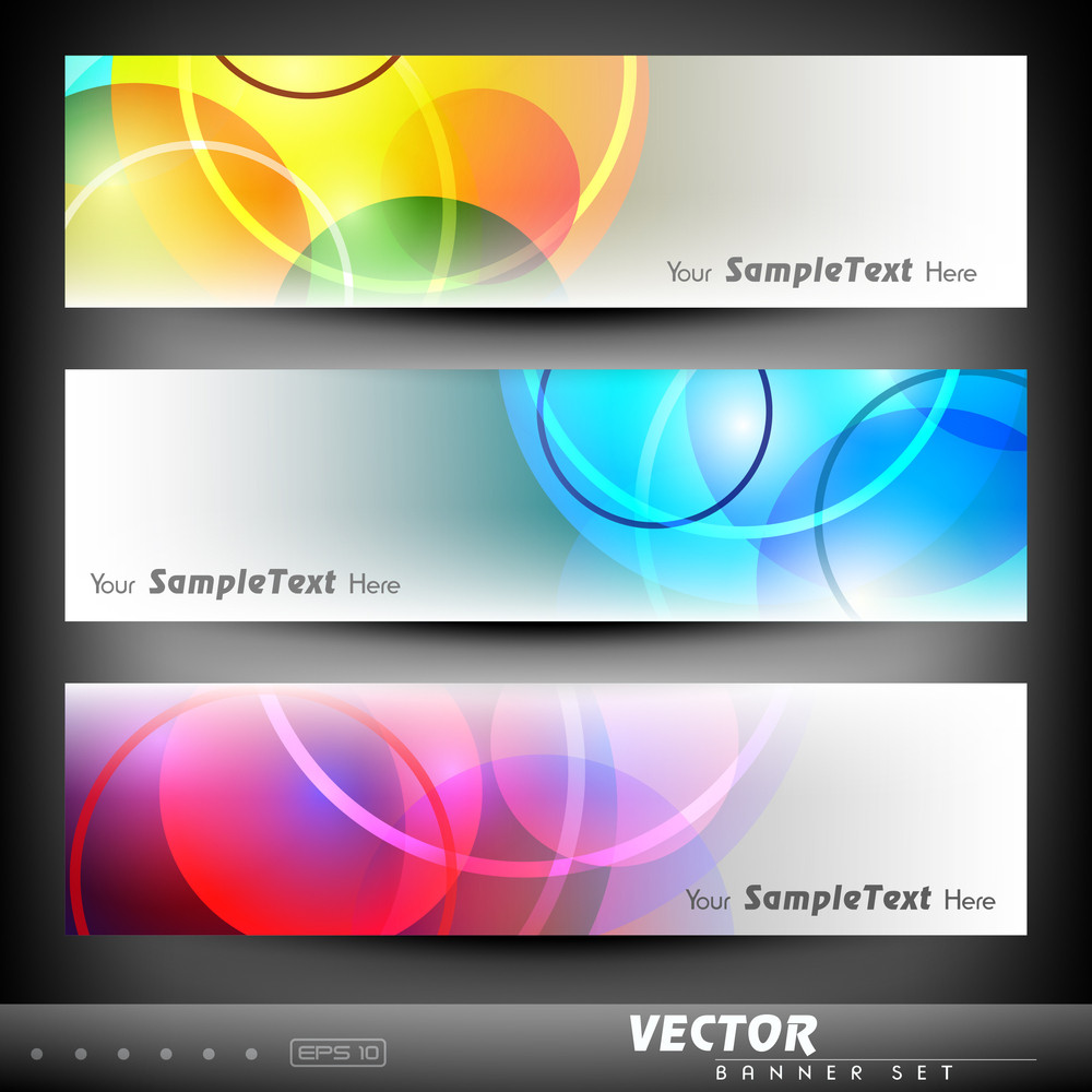 Vector Set Of Colourful Banner