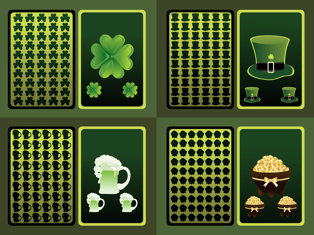 Vector Set Of Four Patrick Day Cards
