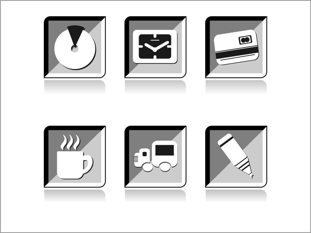 Vector Set Of Glossy Icons