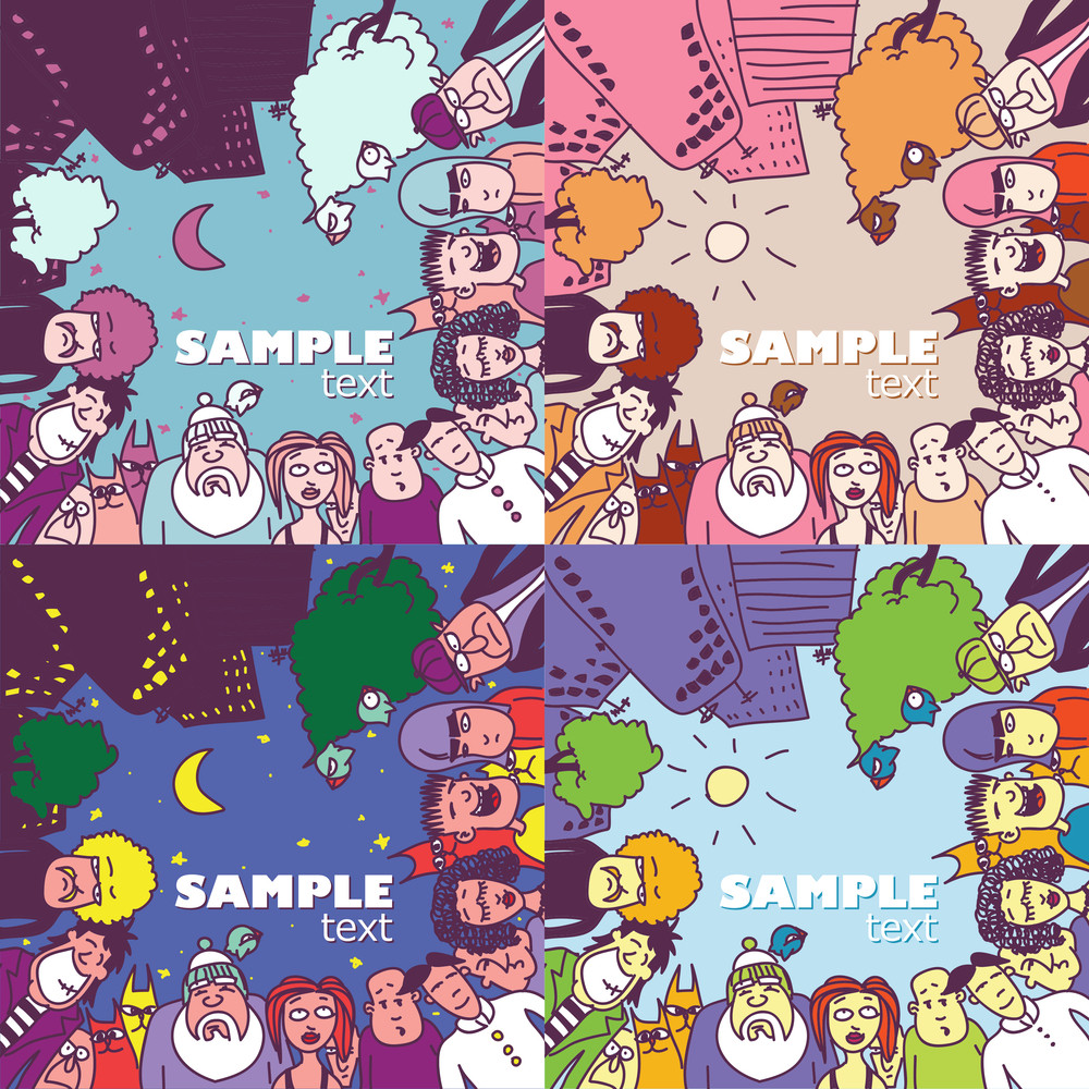 Vector Set Of Greeting Cards With People And Animals.
