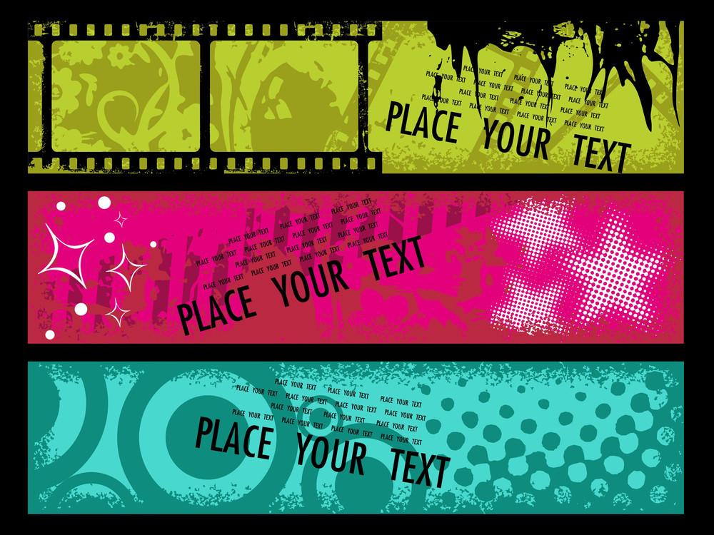 Vector Set Of Grungy Banner
