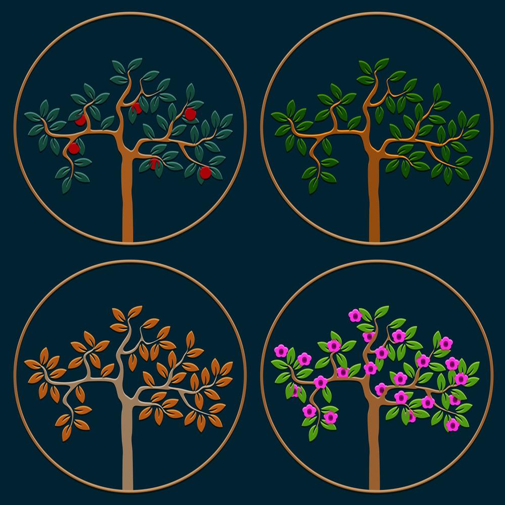 Vector Set Of Icons Seasonal Trees