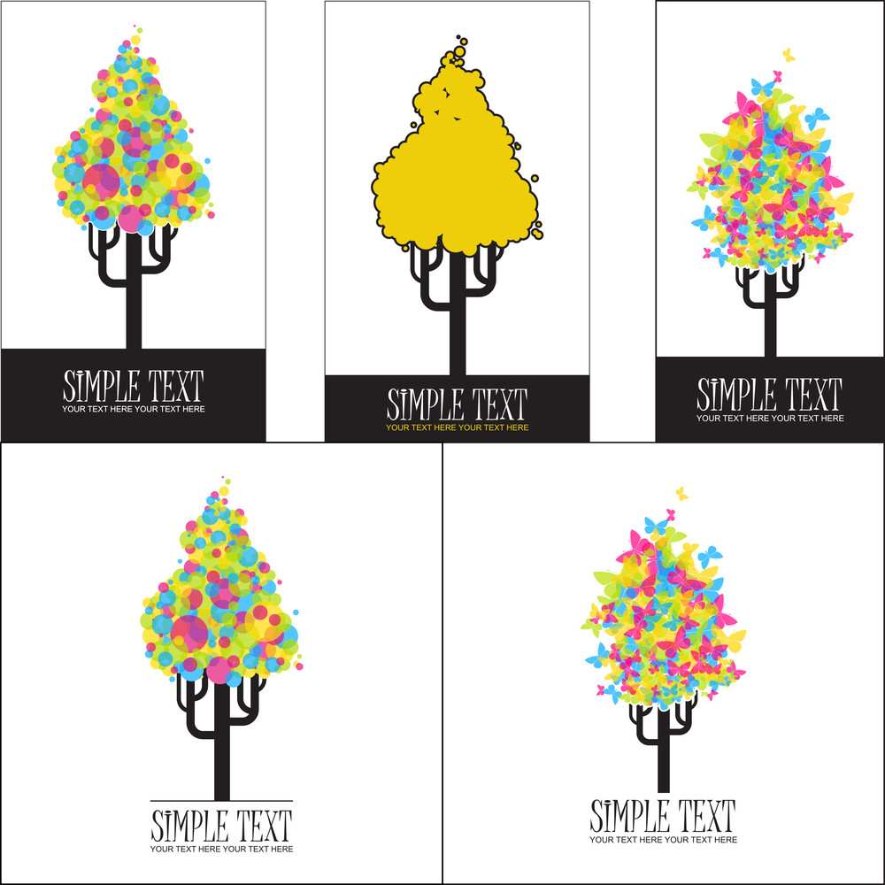 Vector Set Of Illustrations With Abstract Trees