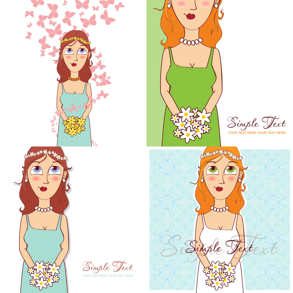 Vector Set Of Illustrations With Young Girl.