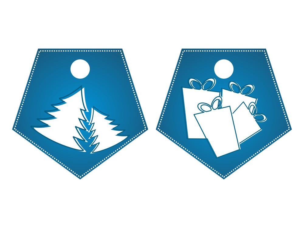 Vector Set Of Merry Xmas Tag