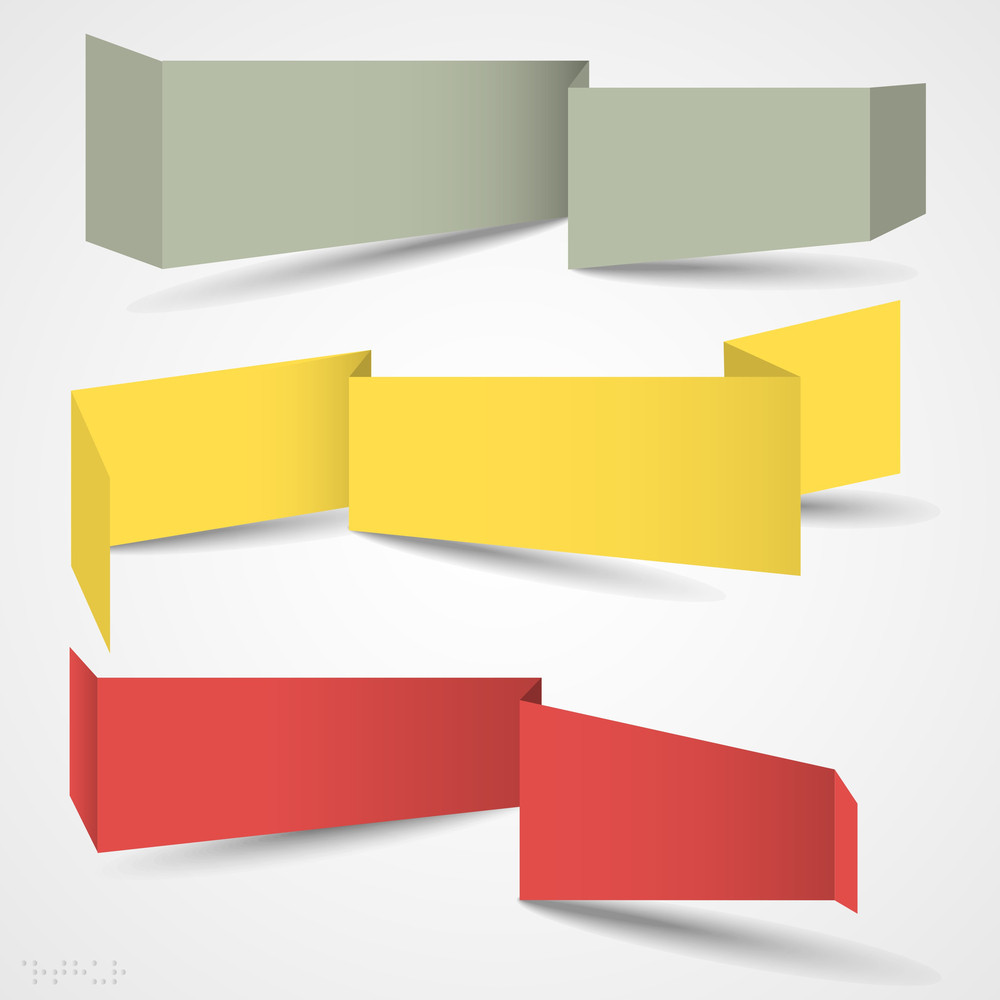 Vector Set Of Origami Banners