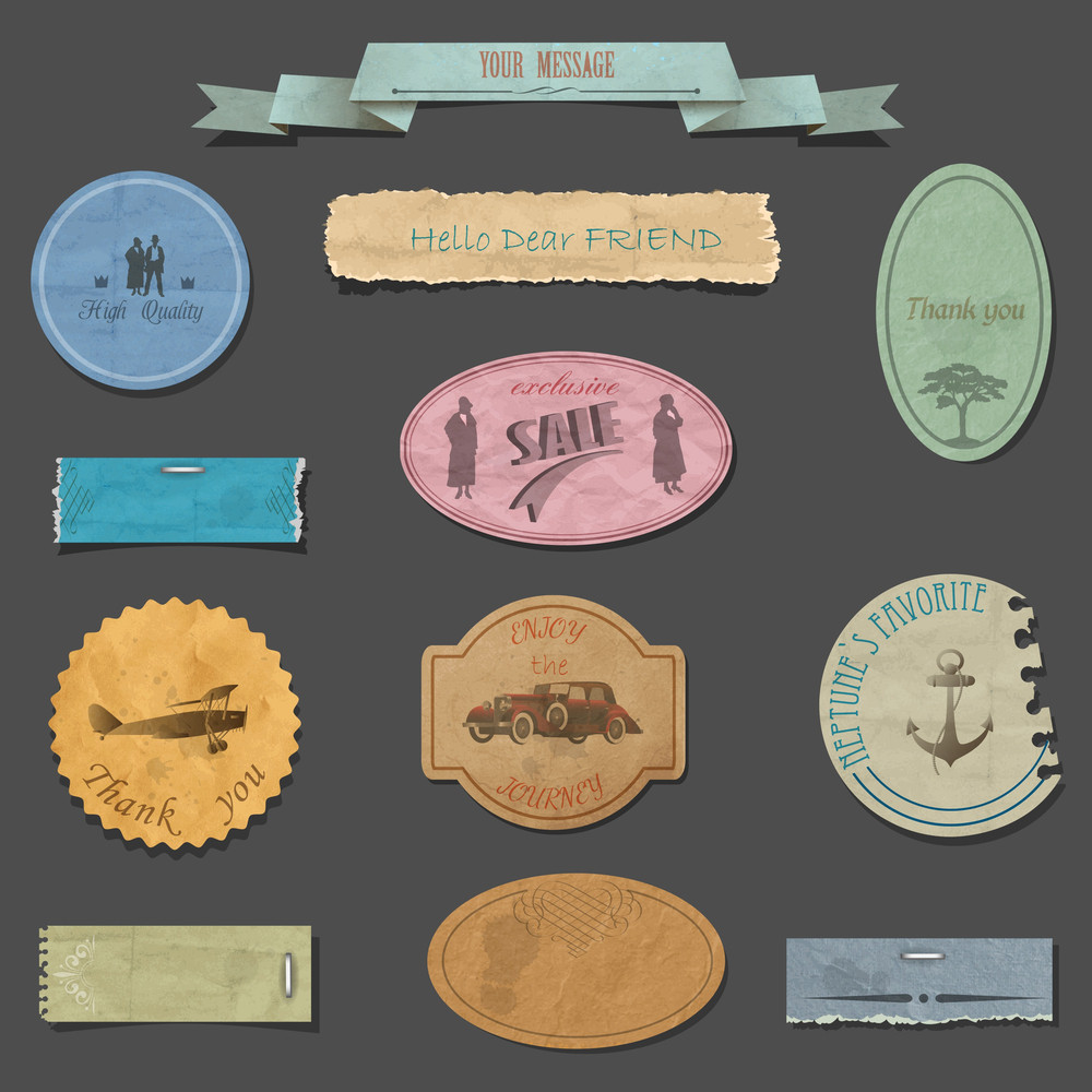 Vector Set Of Paper Vintage Design Elements