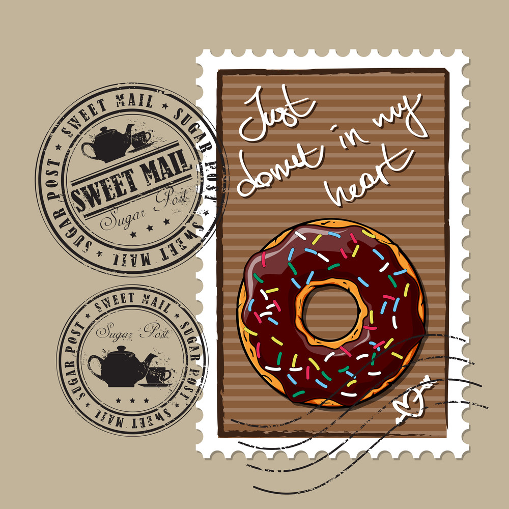 Vector Set Of Postage Stamps With Donut And Tea Cup And Teapot.