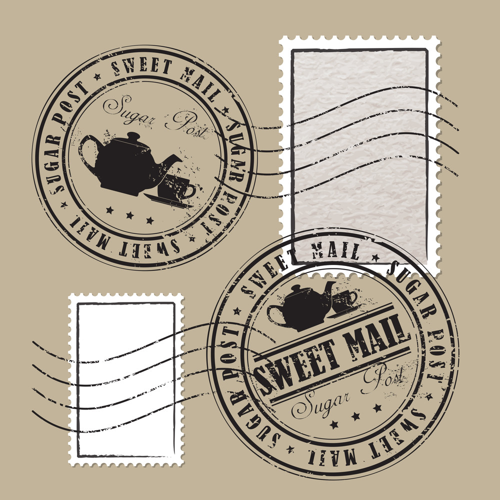 Vector Set Of Postage Stamps.