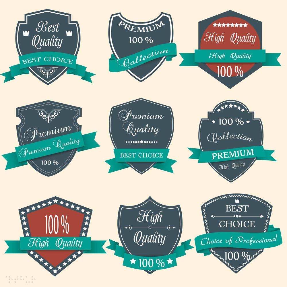 Vector Set Of Premium Quality Labels