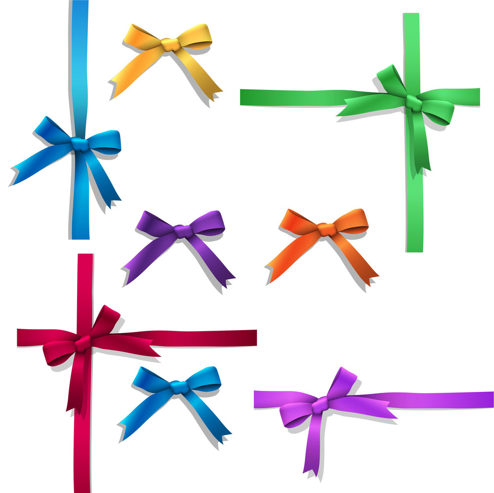 Vector Set Of Ribbon Bows