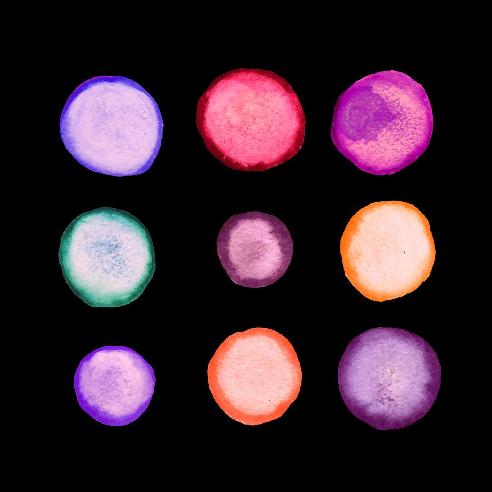Vector Set Of Round Watercolor Stains. Watercolor Circles Background Isolated On White. Set Of Circle Watercolor Stains