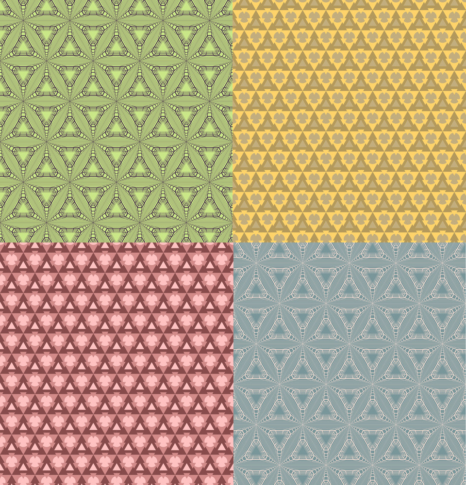 Vector Set Of Seamless Pattern Geometrical Ornament With Triangle.