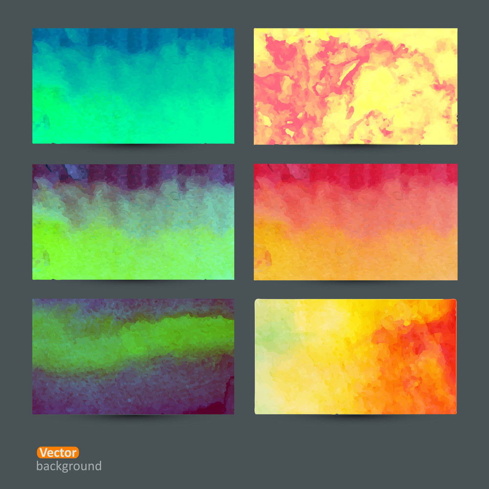 Vector Set Of Six Watercolor Abstract Hand Drawn Background