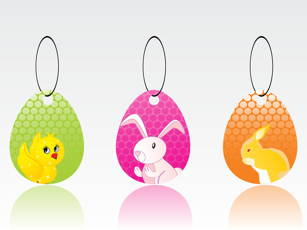Vector Set Of Tag For Easter