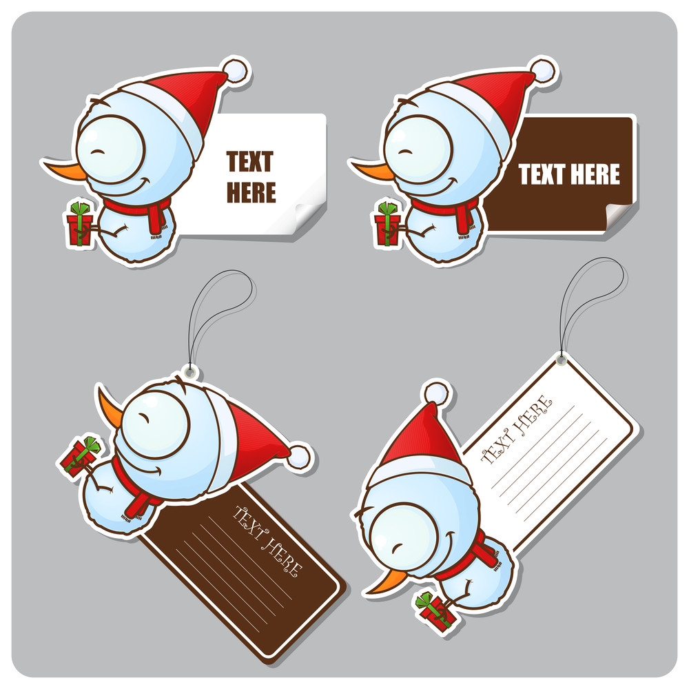 Vector Set Of Tags And Stickers With Cartoon Snowman.