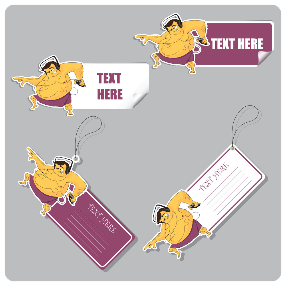 Vector Set Of Tags And Stickers With Dancing Fat Man.