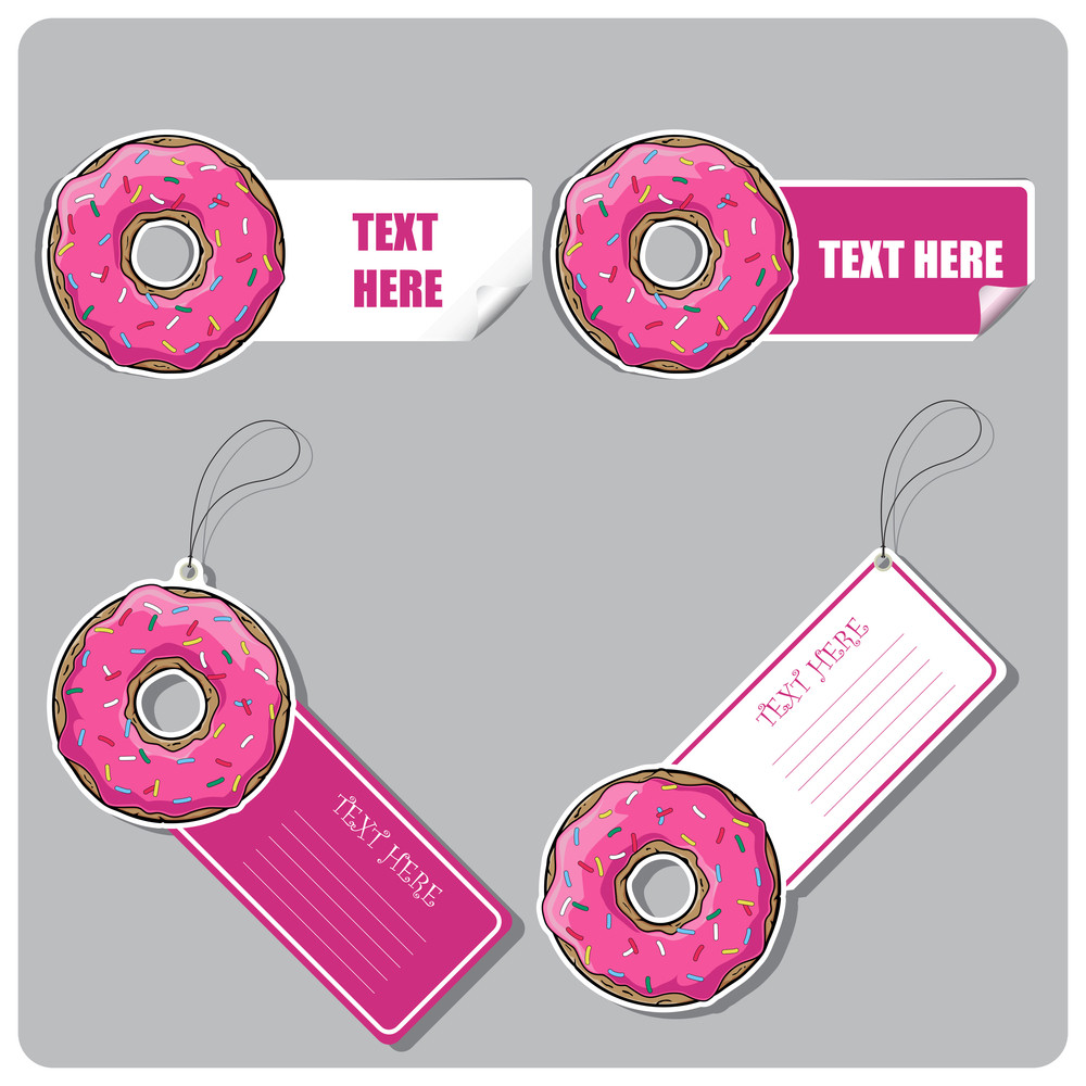 Vector Set Of Tags And Stickers With Donut.