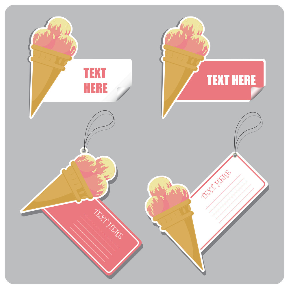 Vector Set Of Tags And Stickers With Icecream Cone.