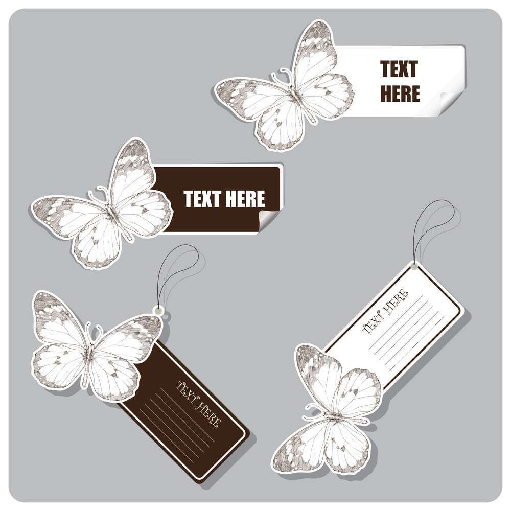 Vector Set Of Tags And Stickers With Monarch Butterfly.
