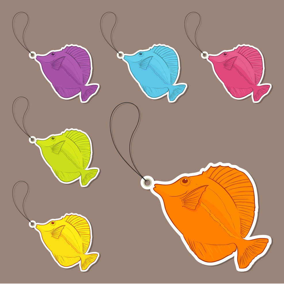 Vector Set Of Tags With Tropical Fishs