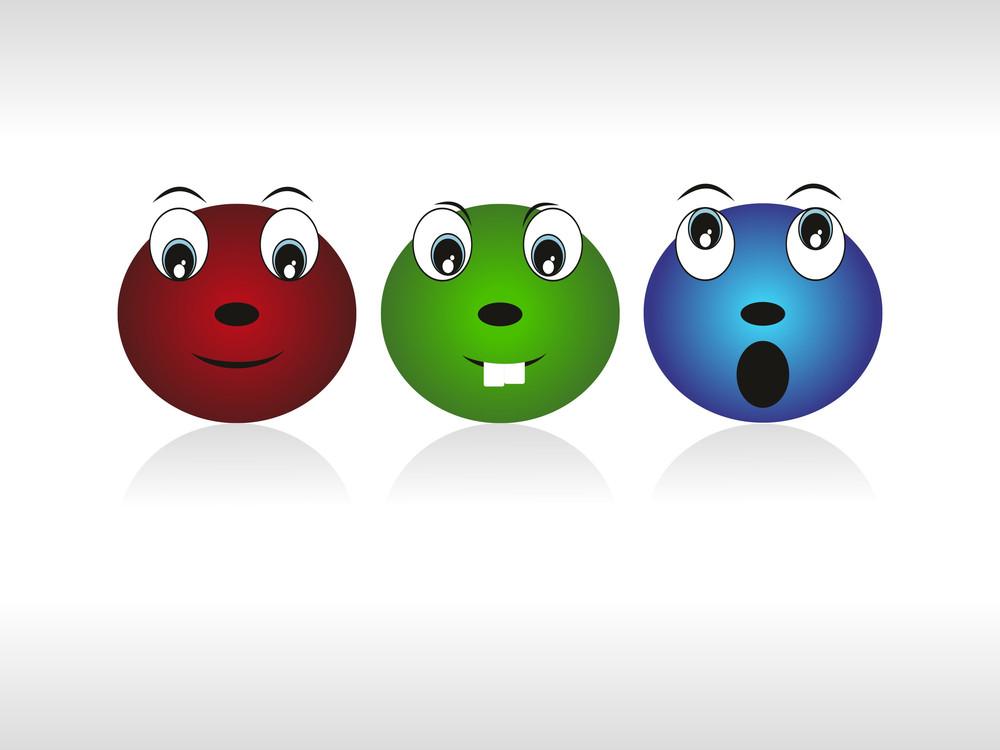 Vector Set Of Three Emoticon Face